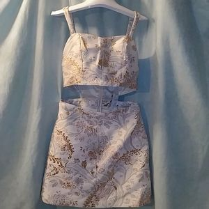 Express gold leaf sectioned tapestry dress